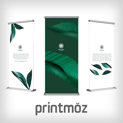 Printmoz logo with an example of printed rollup banners