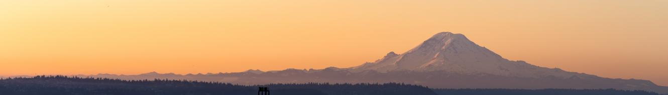 Photo of Bellingham Bay at dusk, with Mount Baker large in the background.